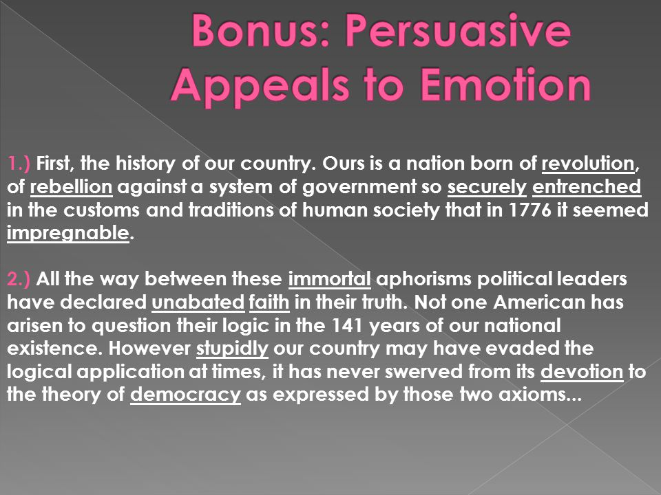 Bonus: Persuasive Appeals to Emotion