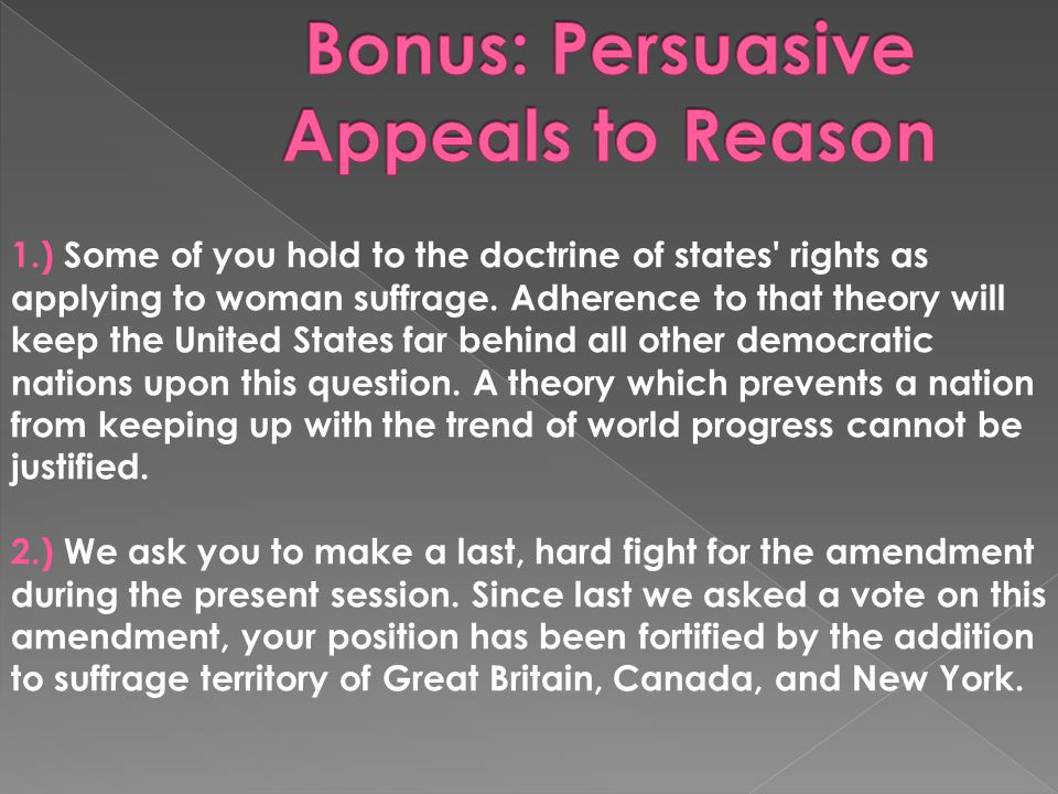 Bonus: Persuasive Appeals to Reason