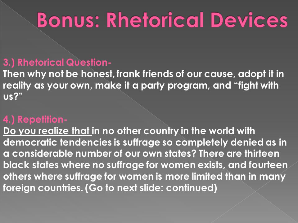 Bonus: Rhetorical Devices