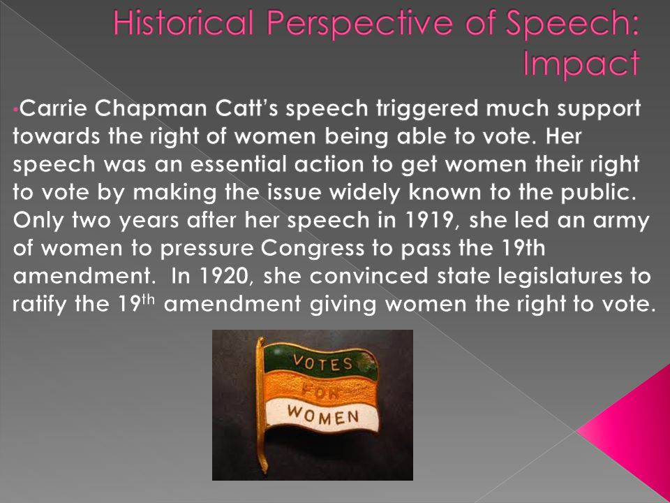 Historical Perspective of Speech: Impact