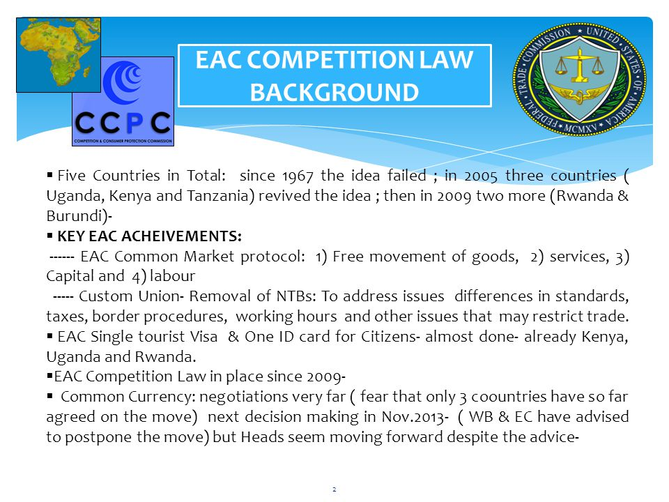 EAC COMPETITION LAW BACKGROUND