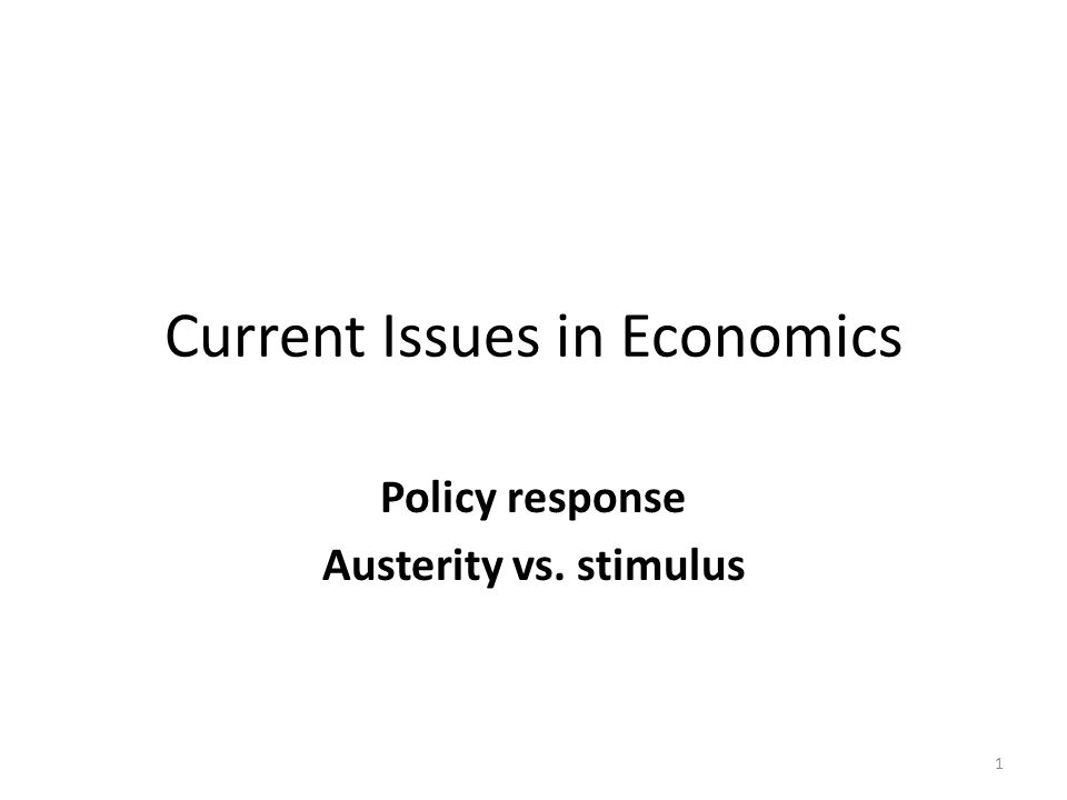 Current Issues in Economics
