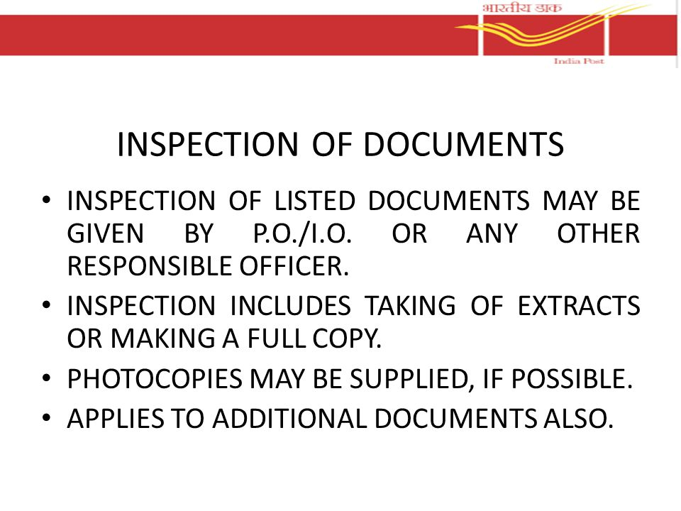 INSPECTION OF DOCUMENTS
