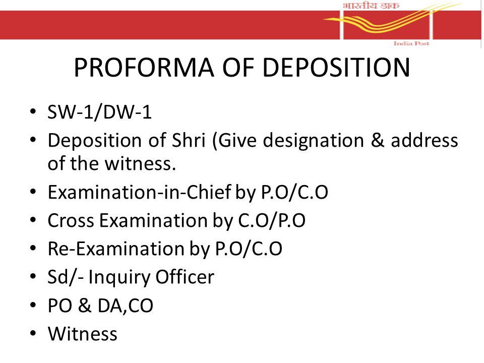 PROFORMA OF DEPOSITION