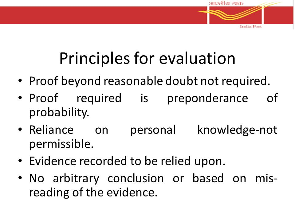 Principles for evaluation