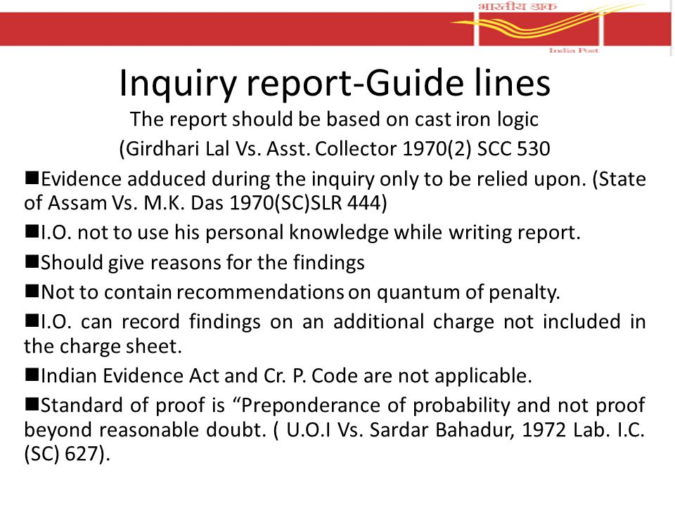 Inquiry report-Guide lines
