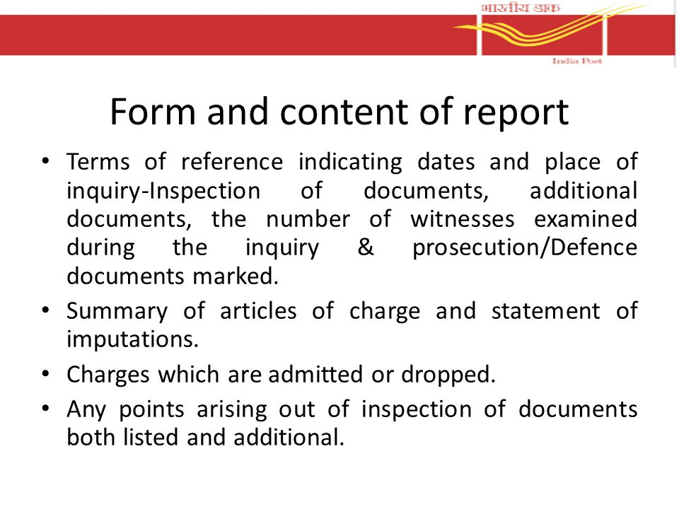 Form and content of report