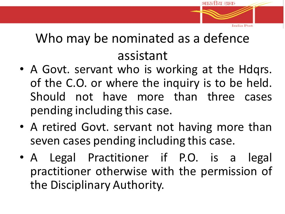Who may be nominated as a defence assistant