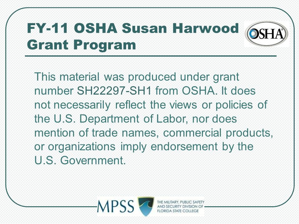 FY-11 OSHA Susan Harwood Grant Program