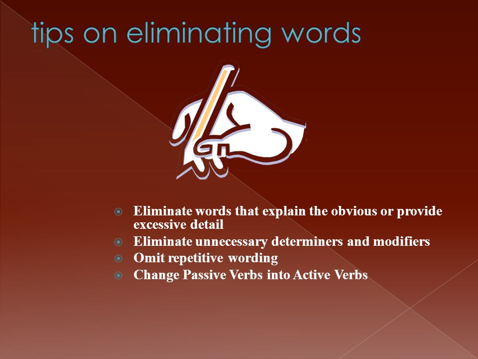 tips on eliminating words