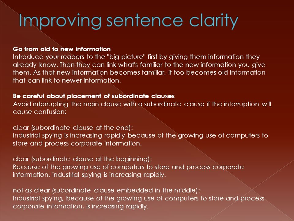 Improving sentence clarity