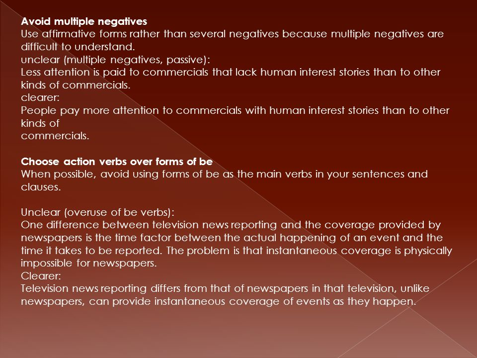 Avoid multiple negatives