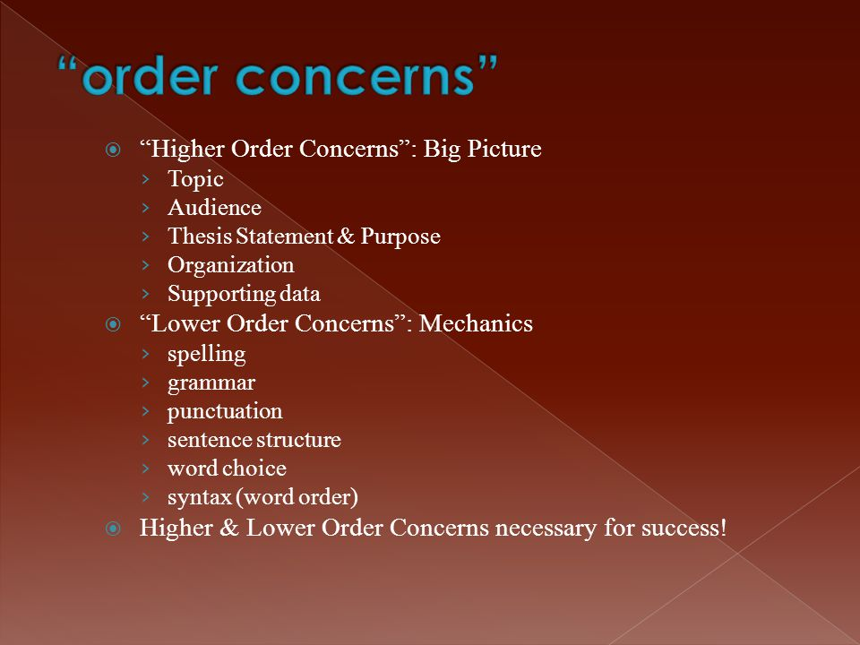 order concerns Higher Order Concerns : Big Picture