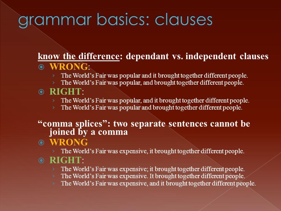 grammar basics: clauses
