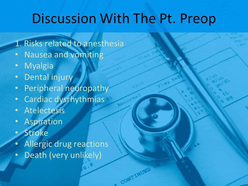 Discussion With The Pt. Preop