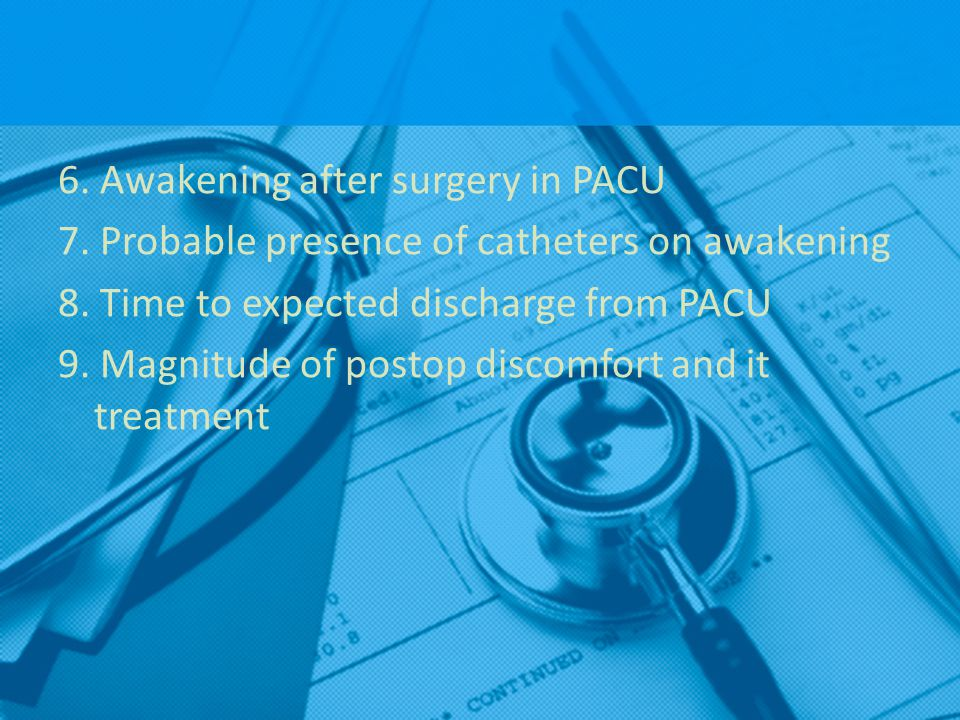 6. Awakening after surgery in PACU 7