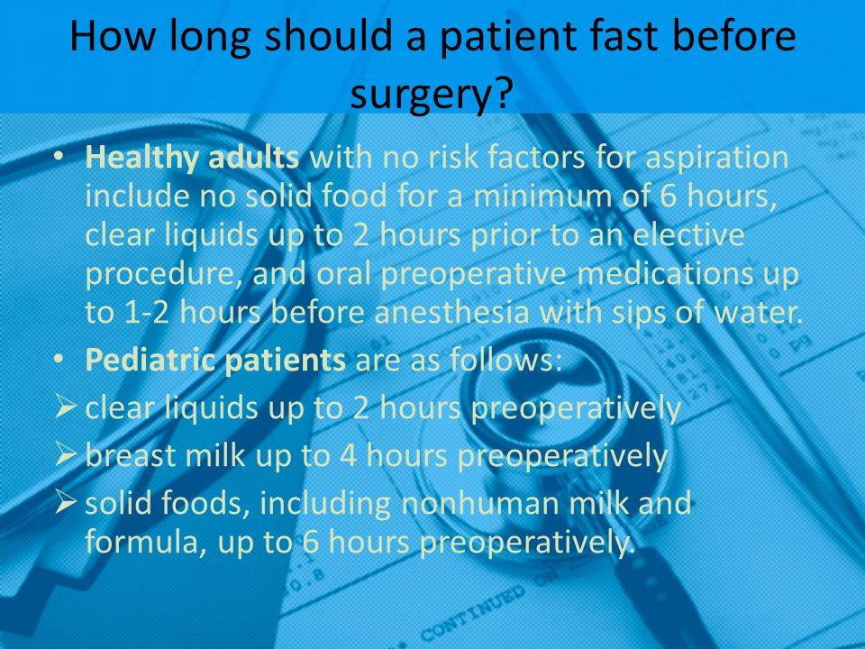 How long should a patient fast before surgery