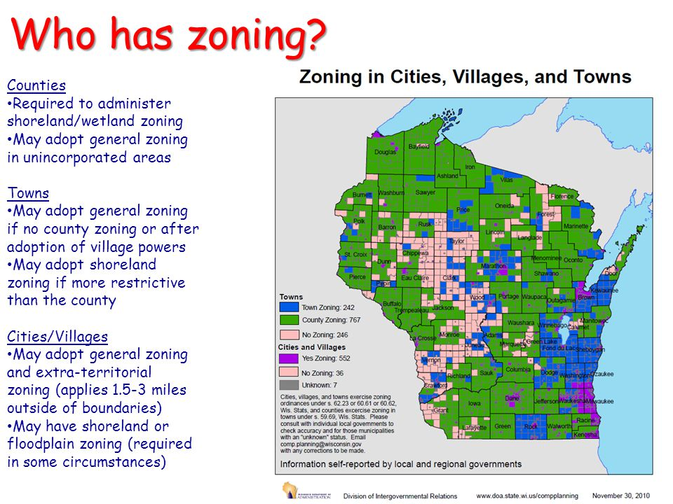 Who has zoning Counties