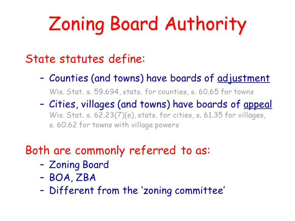 Zoning Board Authority