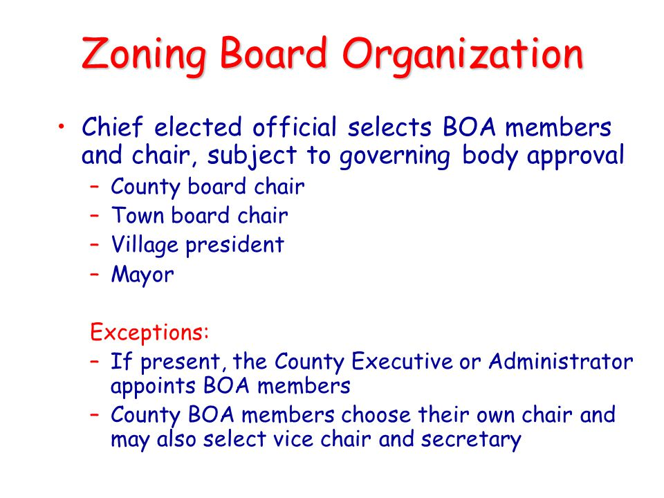 Zoning Board Organization