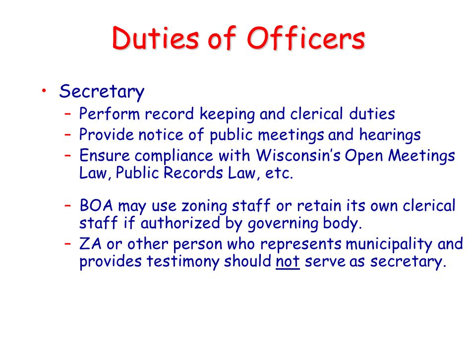 Duties of Officers Secretary
