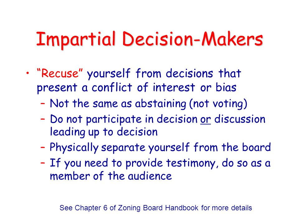 Impartial Decision-Makers