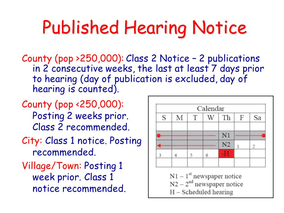 Published Hearing Notice