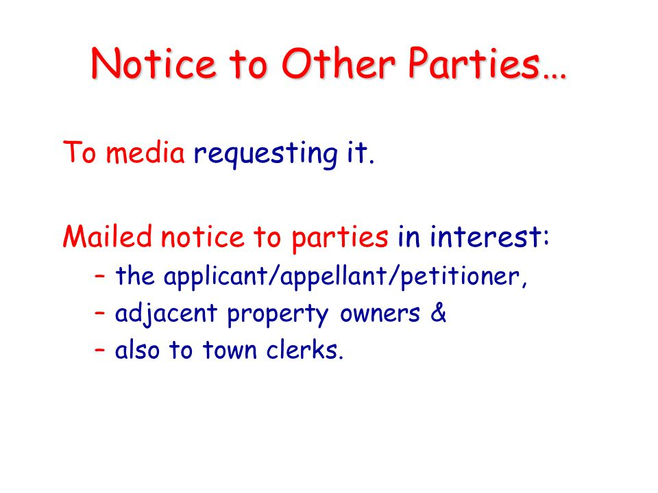 Notice to Other Parties…
