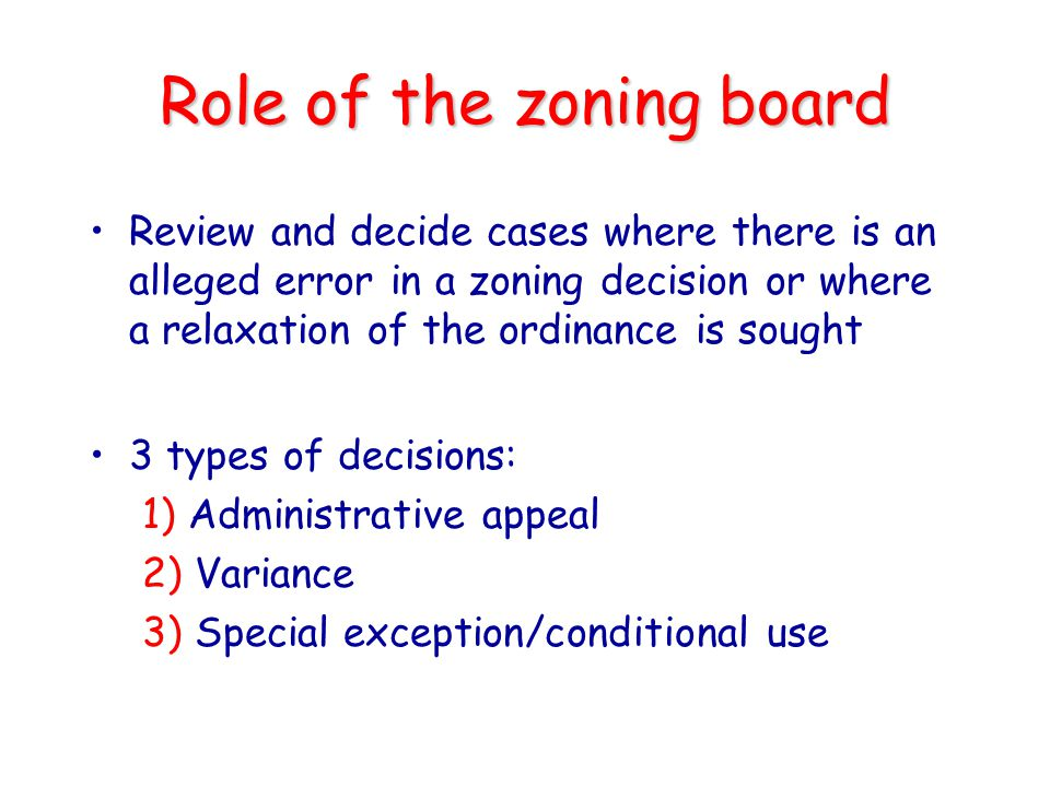 Role of the zoning board