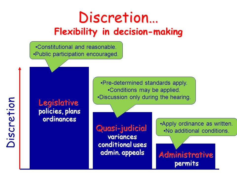 Discretion… Flexibility in decision-making