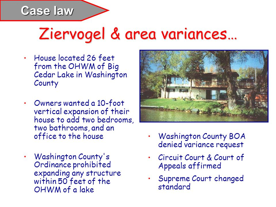 Ziervogel & area variances…