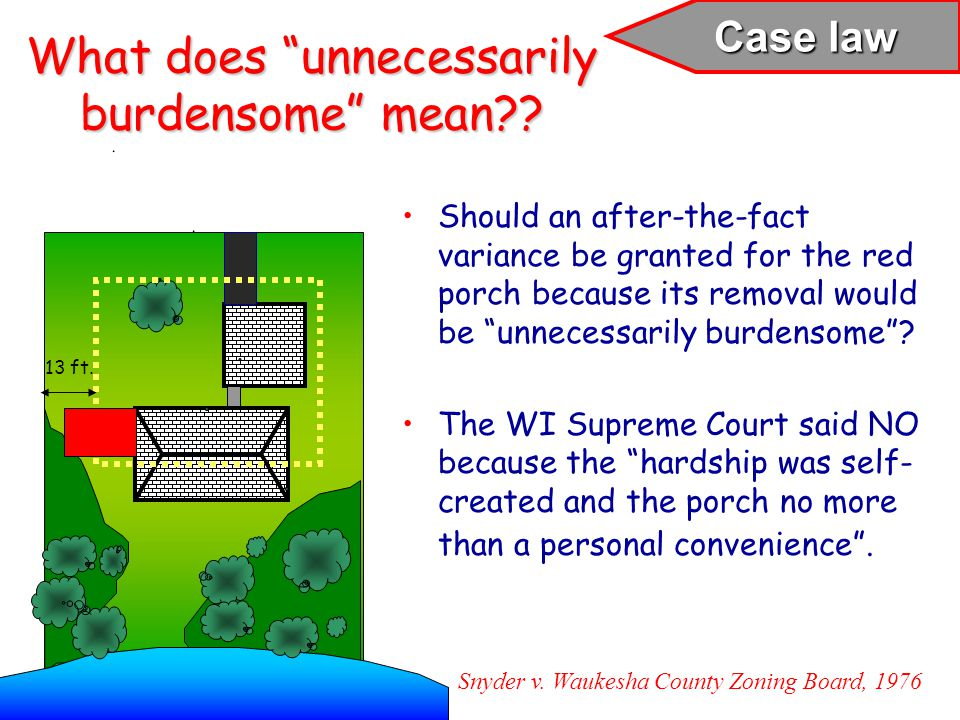 What does unnecessarily burdensome mean