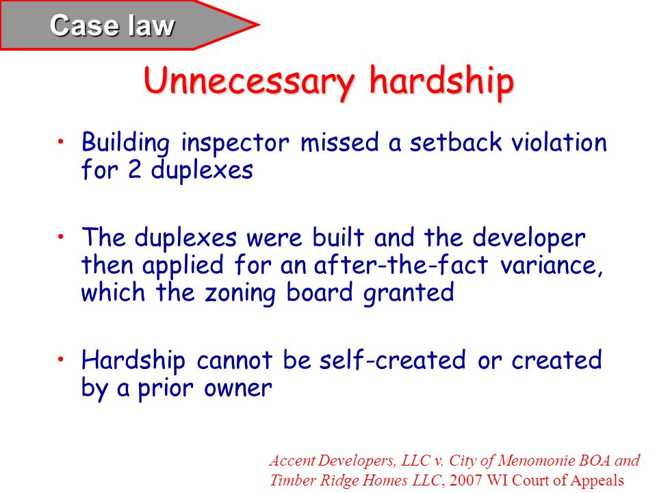 Unnecessary hardship Case law
