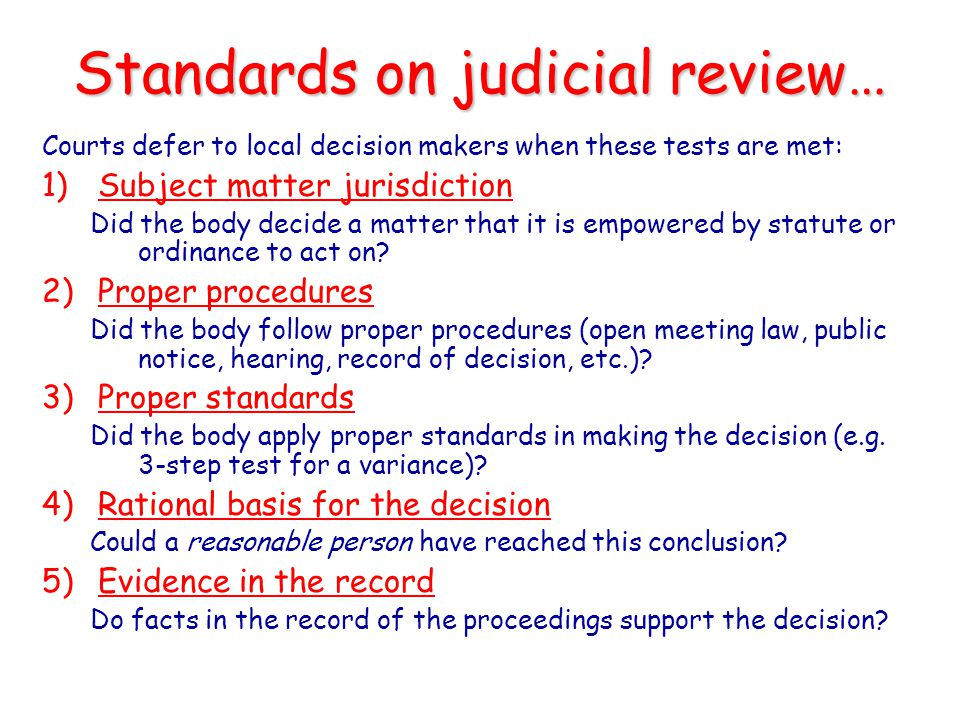 Standards on judicial review…