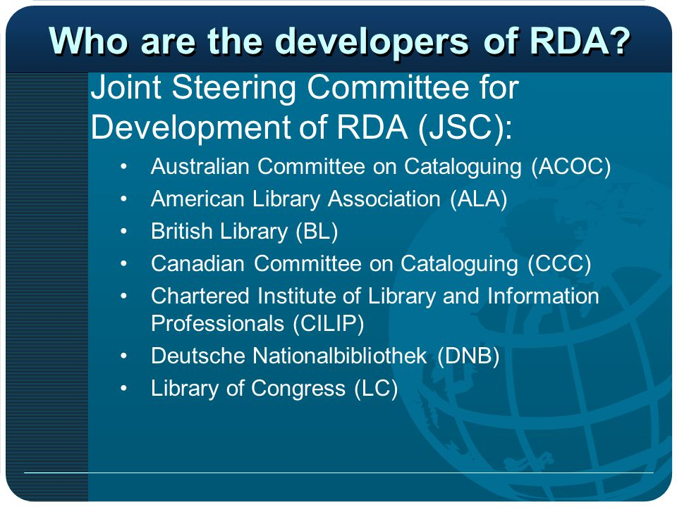 Who are the developers of RDA