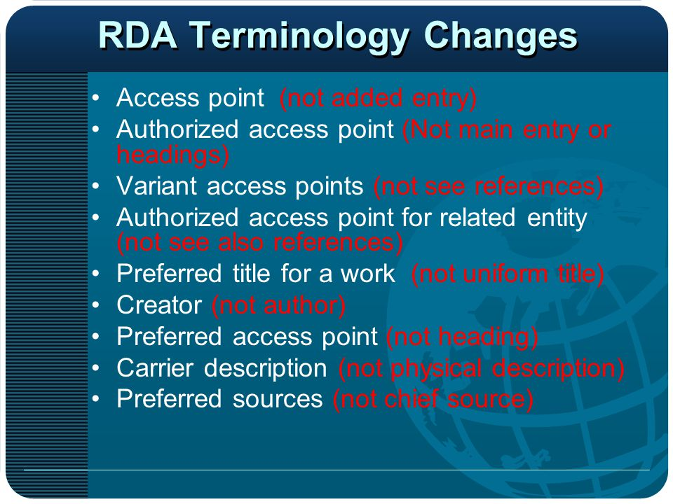 RDA Terminology Changes