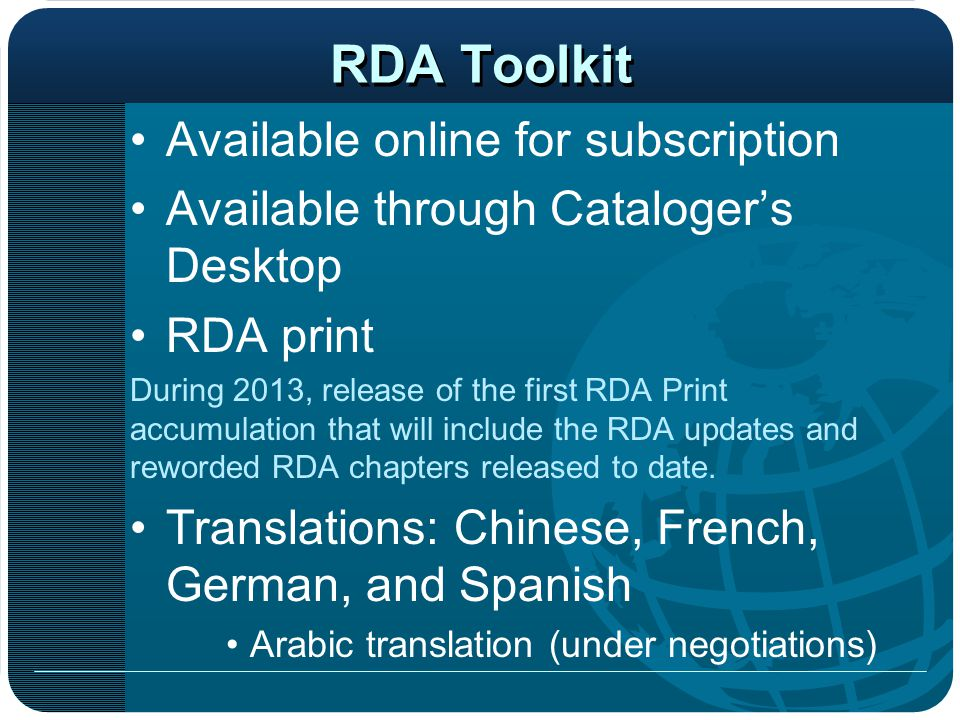 RDA Toolkit Available online for subscription