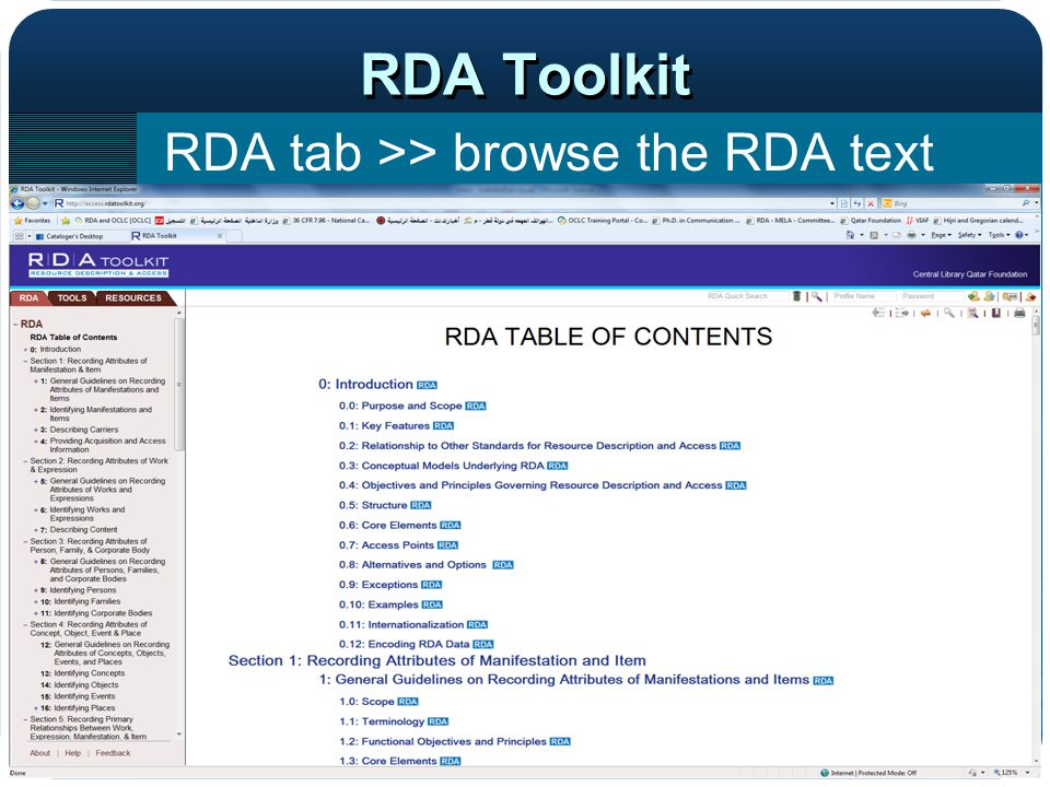 RDA Toolkit RDA tab >> browse the RDA text