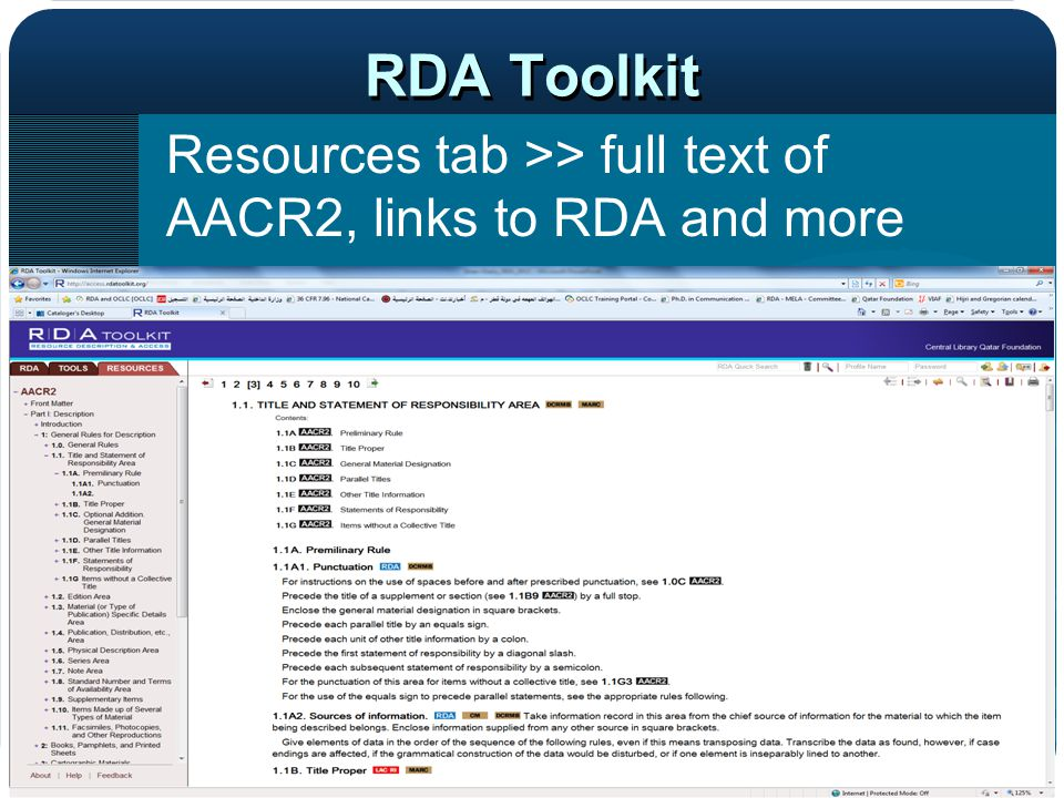 RDA Toolkit Resources tab >> full text of AACR2, links to RDA and more