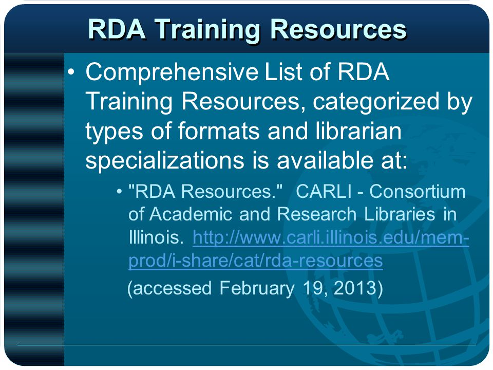 RDA Training Resources
