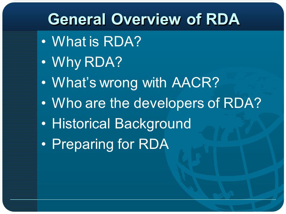 General Overview of RDA