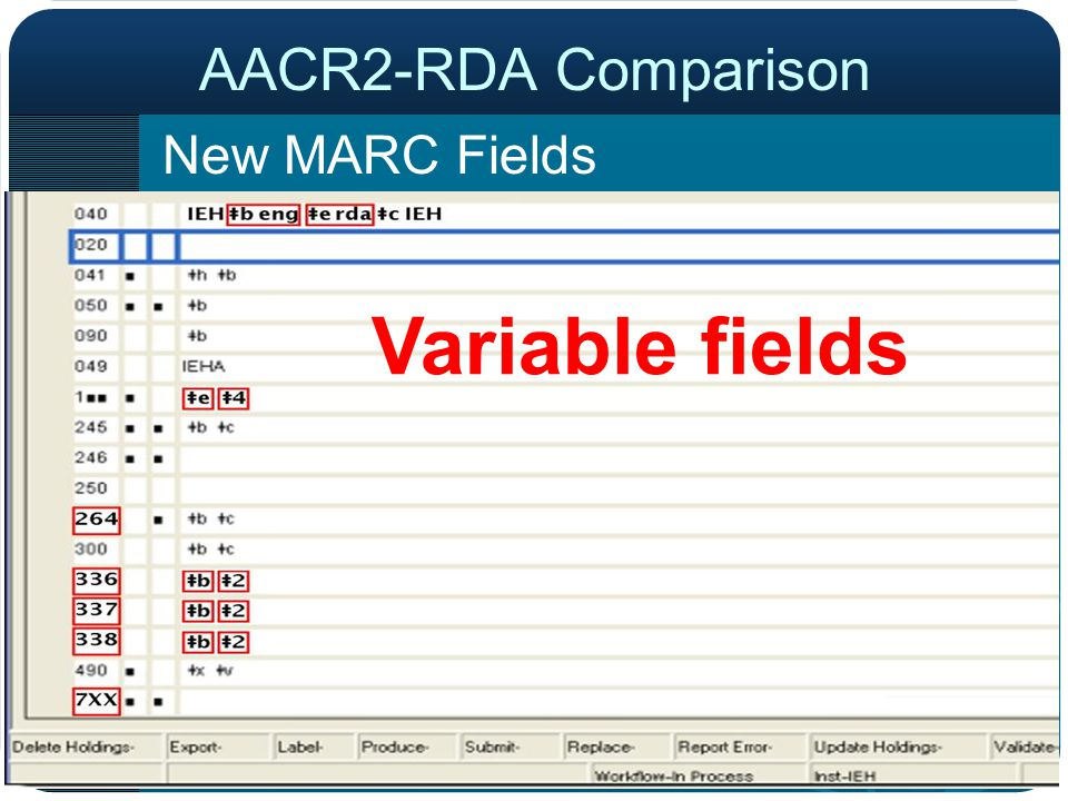 AACR2-RDA Comparison New MARC Fields Variable fields