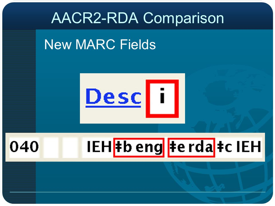 AACR2-RDA Comparison New MARC Fields