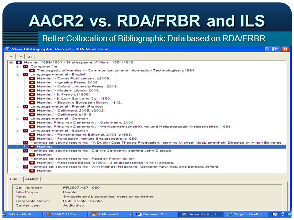 AACR2 vs. RDA/FRBR and ILS