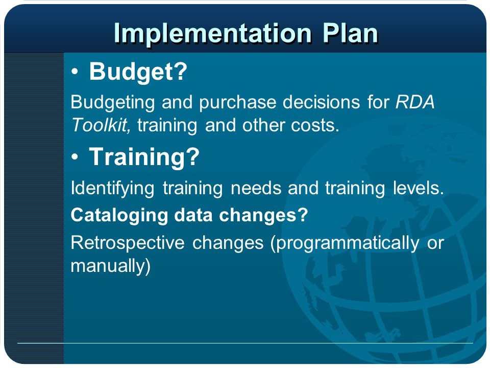 Implementation Plan Budget Training