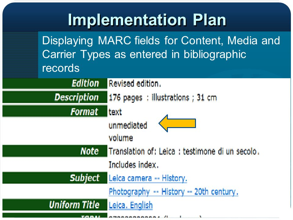 Implementation Plan Displaying MARC fields for Content, Media and Carrier Types as entered in bibliographic records.
