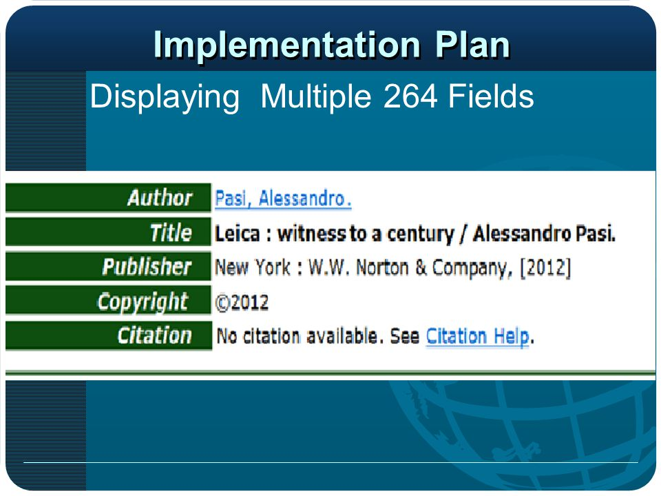 Implementation Plan Displaying Multiple 264 Fields