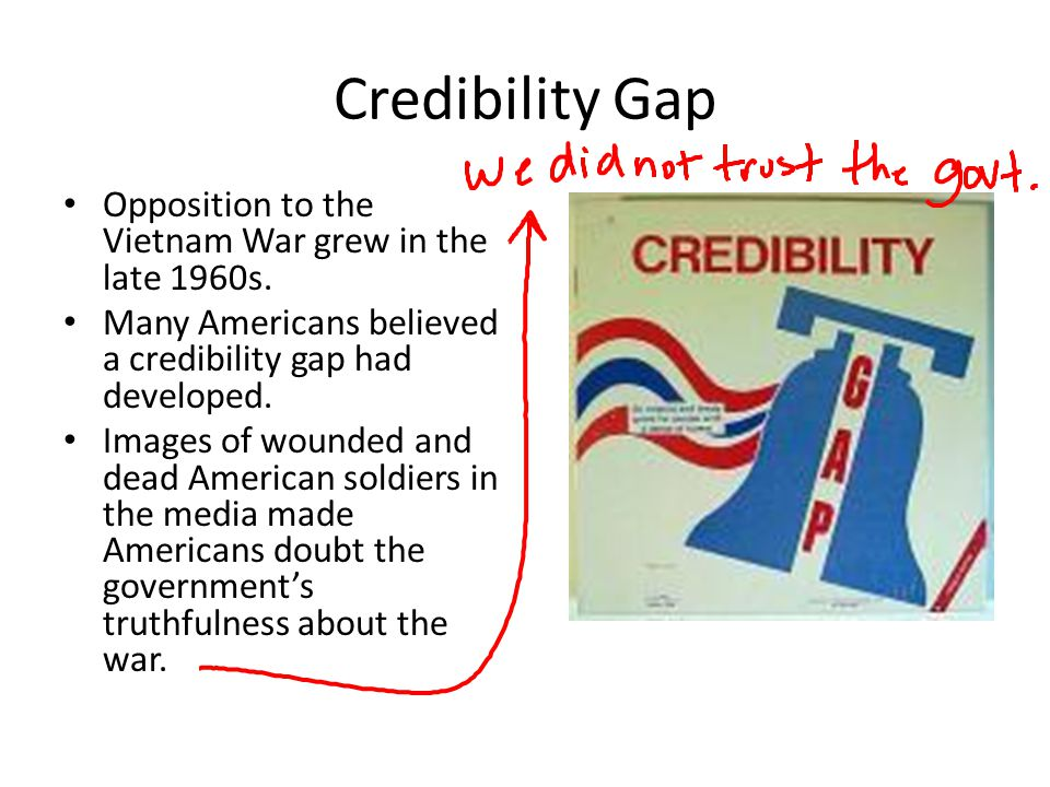 Credibility Gap Opposition to the Vietnam War grew in the late 1960s.