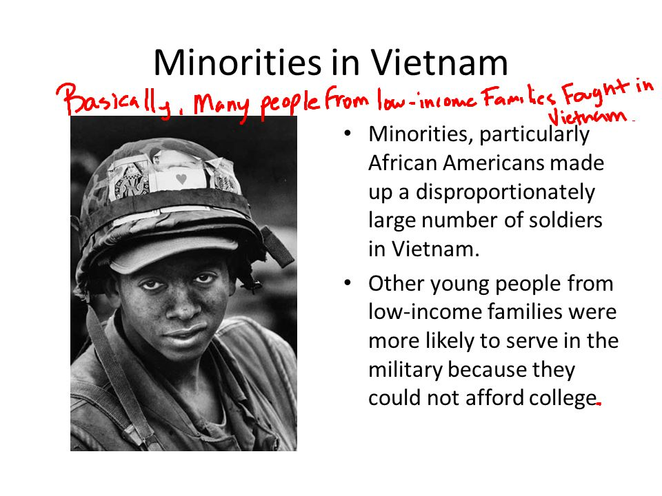 Minorities in Vietnam Minorities, particularly African Americans made up a disproportionately large number of soldiers in Vietnam.