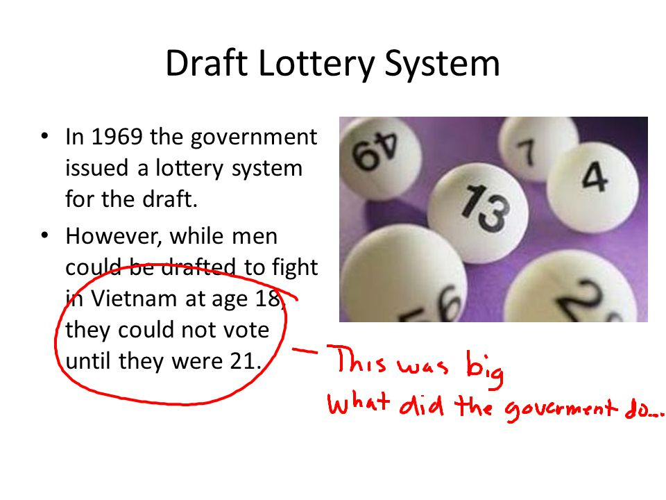 Draft Lottery System In 1969 the government issued a lottery system for the draft.